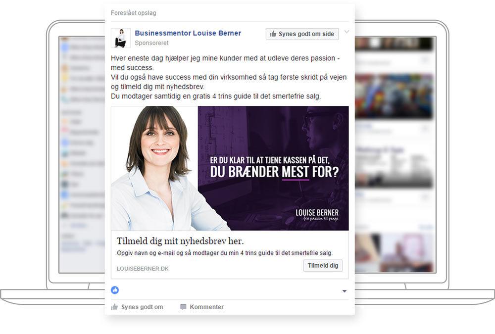 cc63d96fee4 Vi sætter realistiske mål ud fra dine interesser – og indfrier dem gennem  målrettede annoncer på Facebook.